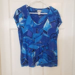 Chico's Blue Abstract Short Sleeve V-Neck Top
